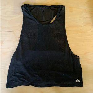 Alo yoga tank with black mesh back